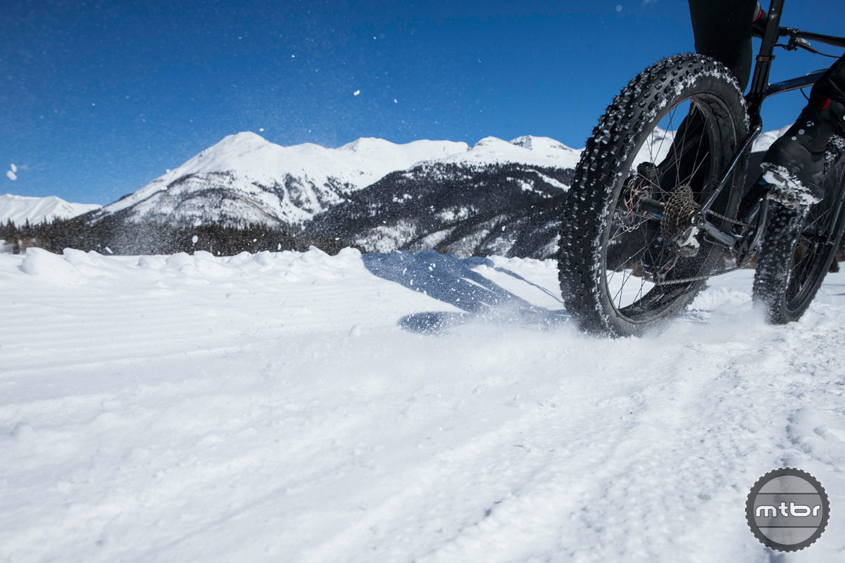 Cornering on snow with the Bontrager Hodag rear tire. Photo by S Lorence