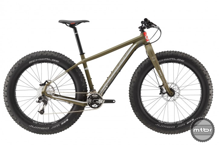 Equipped with a Fatty-Fat rigid fork and SRAM 2x10 drivetrain, the Fat CAAD 2 is a less expensive option.