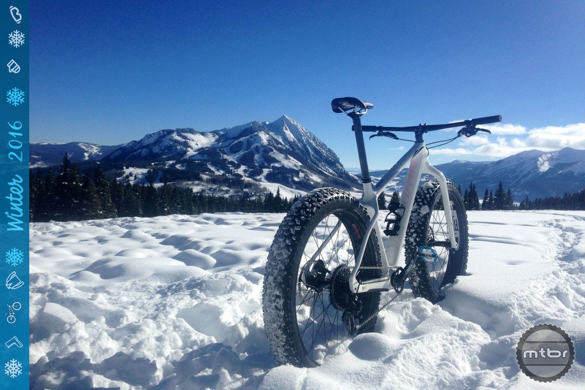 Riding in winter means spectacular views such as this of Mount Crested Butte (with Specialized Fat Boy Expert Carbon).