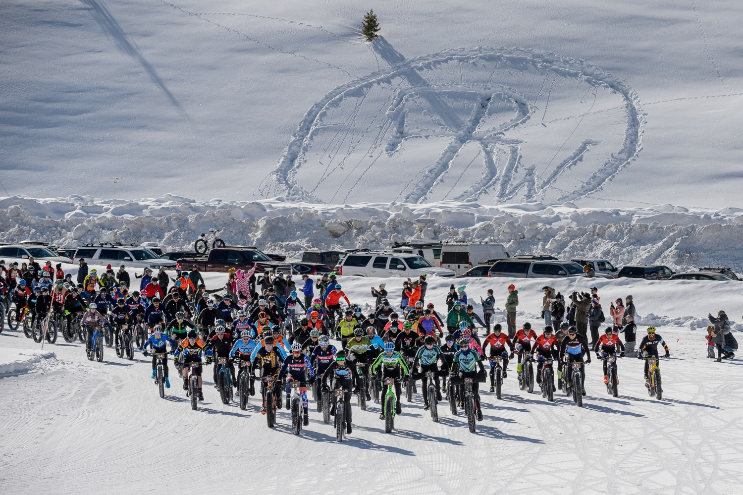 Your author (dead center in the back wearing red jersey and blue helmet) used the 2020 Fat Bike World Championships - and the lead-up to the event - to test out some of the latest cold weather cycling gear and apparel. Photo by Robby Lloyd/Lucid Images