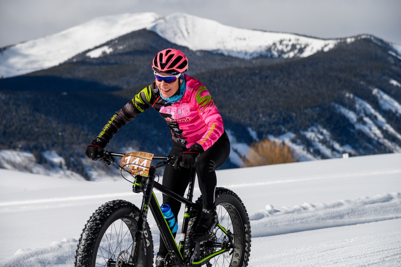 Gunnison County local Jenny Smith was second on the day, smiling all the way. She finished her 5 laps in 2:21:39, more than 13 minutes behind women's World's winner Ashley Carelock, who is also the course record holder of the multi-day Colorado Trail mountain bike race. Third place in Crested Butte went to Jill Cederholm Mairs. Photo by Robby Lloyd/Lucid Images