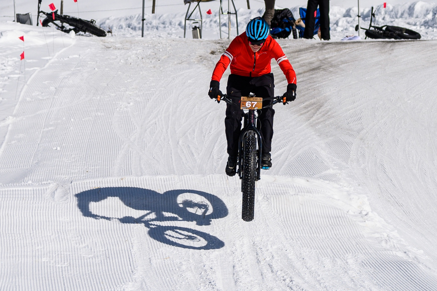 Even without front suspension, you can get a little rowdy on the Giant Yukon 1 Fat Bike. Photo by Robby Lloyd/Lucid Images