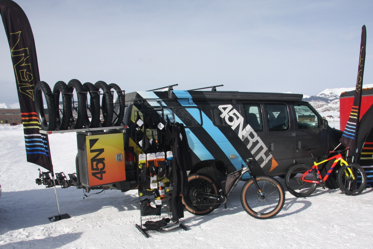 Maker of all things fat bike/cold weather riding 45NRTH was in the house, showing off their wares and leading a group ride the day after the big race. Photo by Jason Sumner