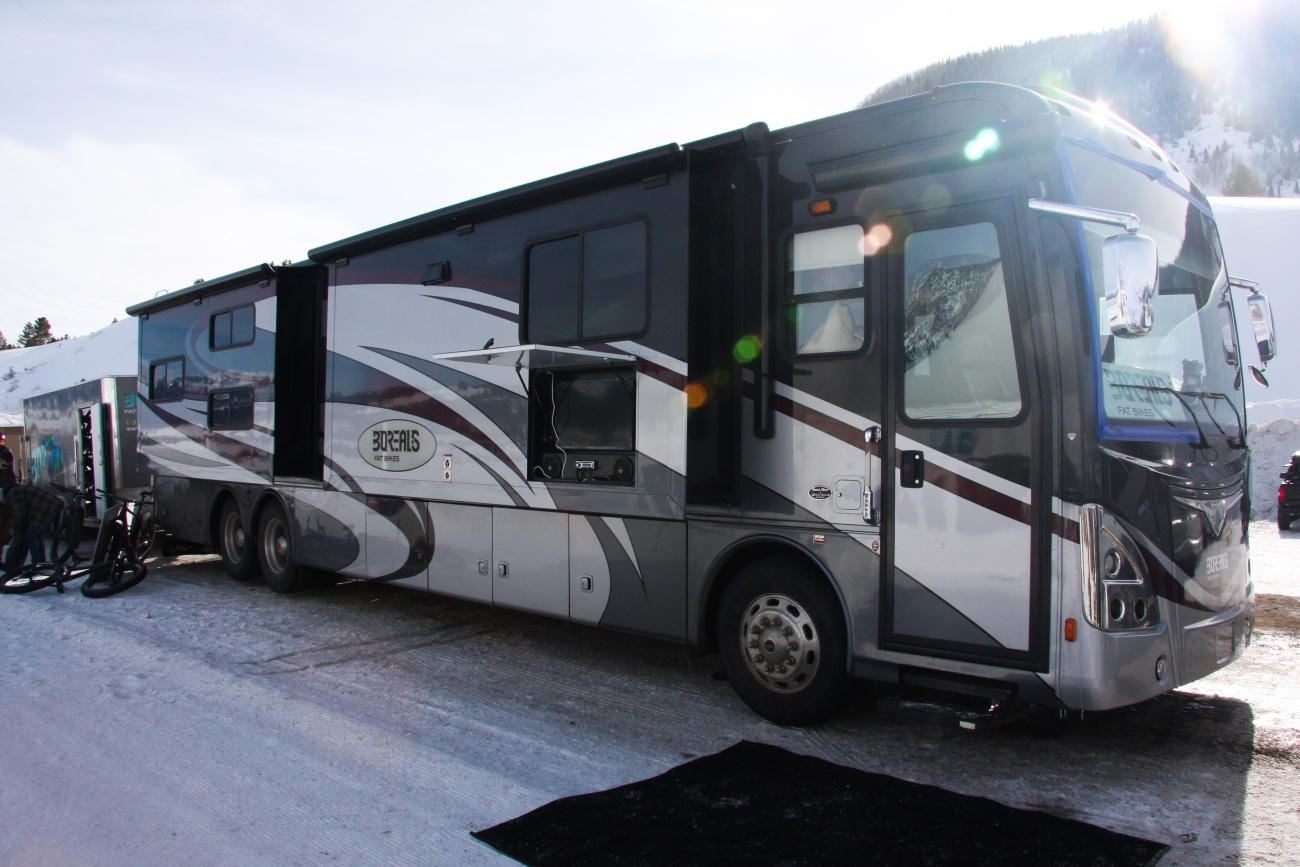 Of course, event sponsor Borealis has its own motor home. Photo by Jason Sumner