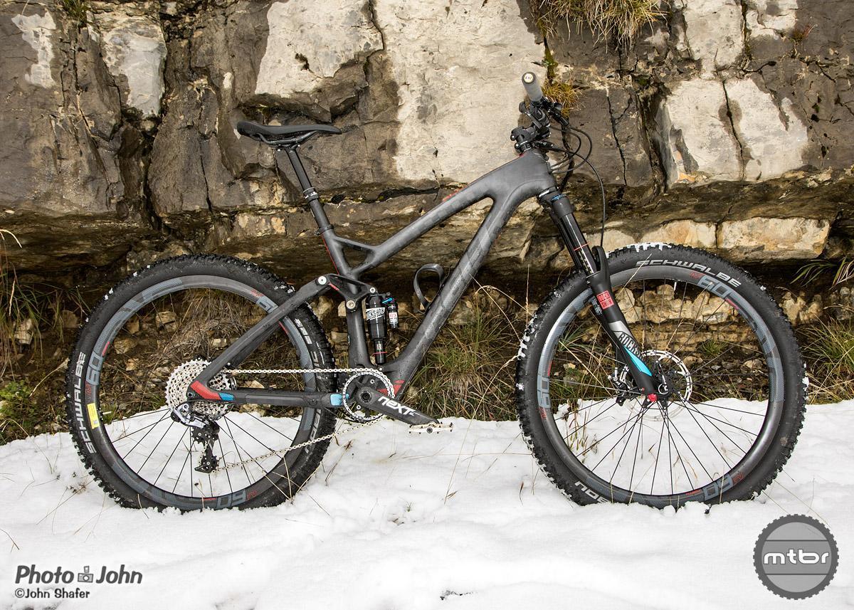 The Felt Decree trail bike on Tremalzo Pass, high above Lago di Garda.