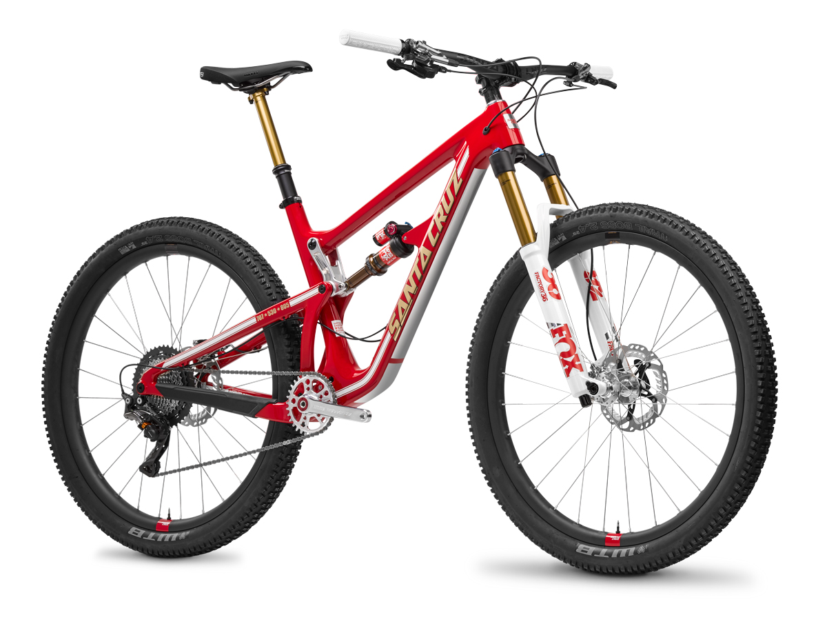 """The Santa Cruz Hightower LT dons fire truck-inspired """"Firetower LT"""" livery for the Back On Trail campaign to benefit trail reconstruction in California's wildfire impacted areas."""