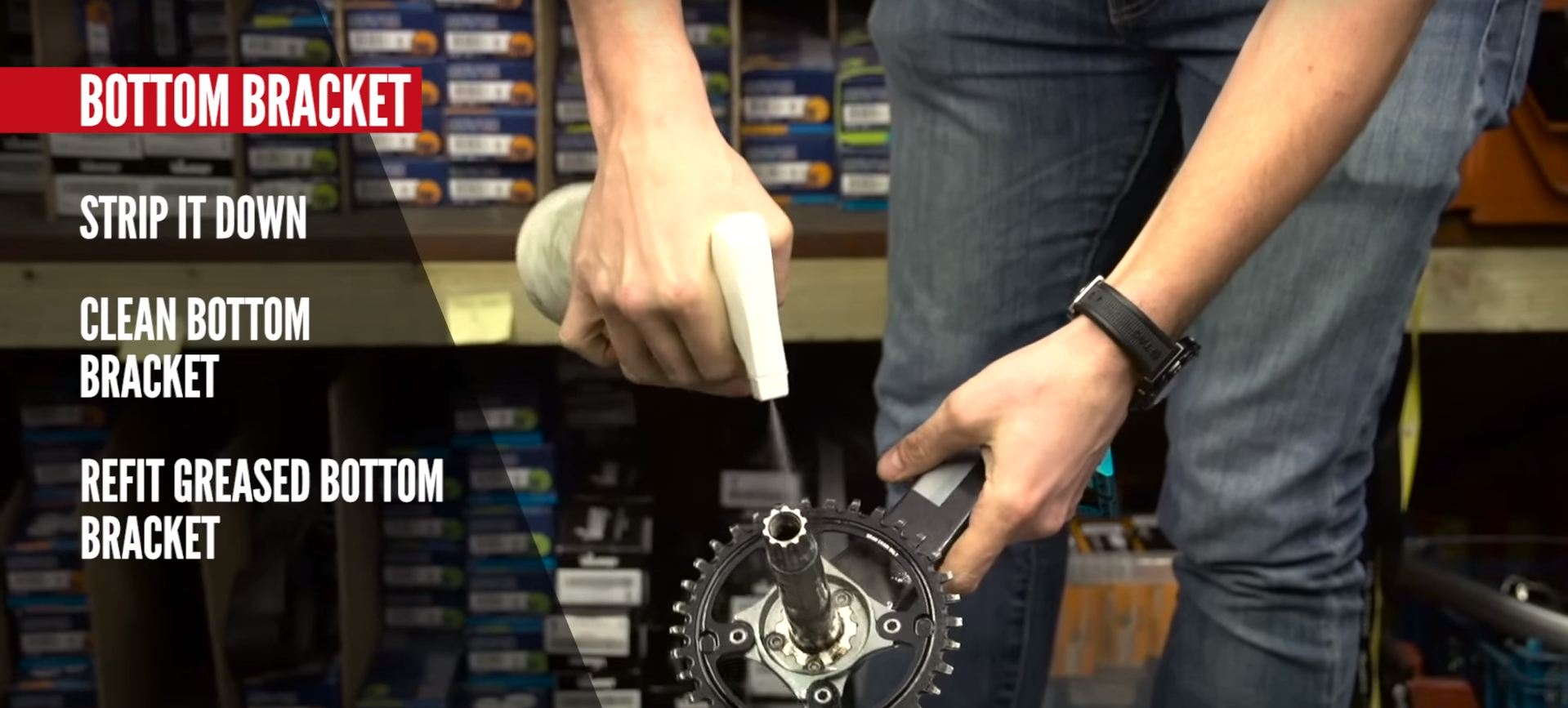 Clean off your crank spindle when servicing your bottom bracket.