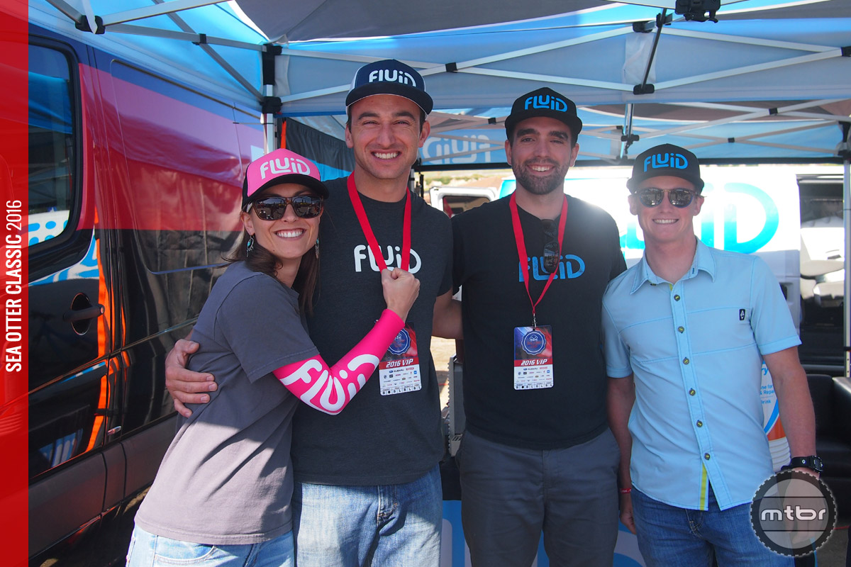The fun loving Fluid team at the Sea Otter including Founder and CEO Richard Smith (second from left).