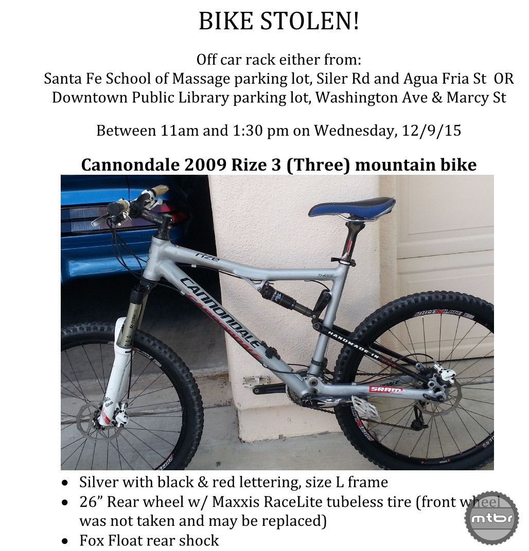 In your flyer, include when/where the bike was stolen, any identifying details, and include a clear photo.