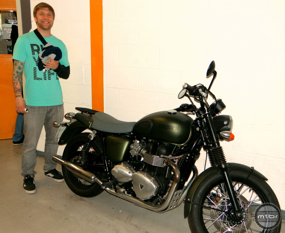 Our author admires the cool accessories. Piotr was injured three days before the tour.