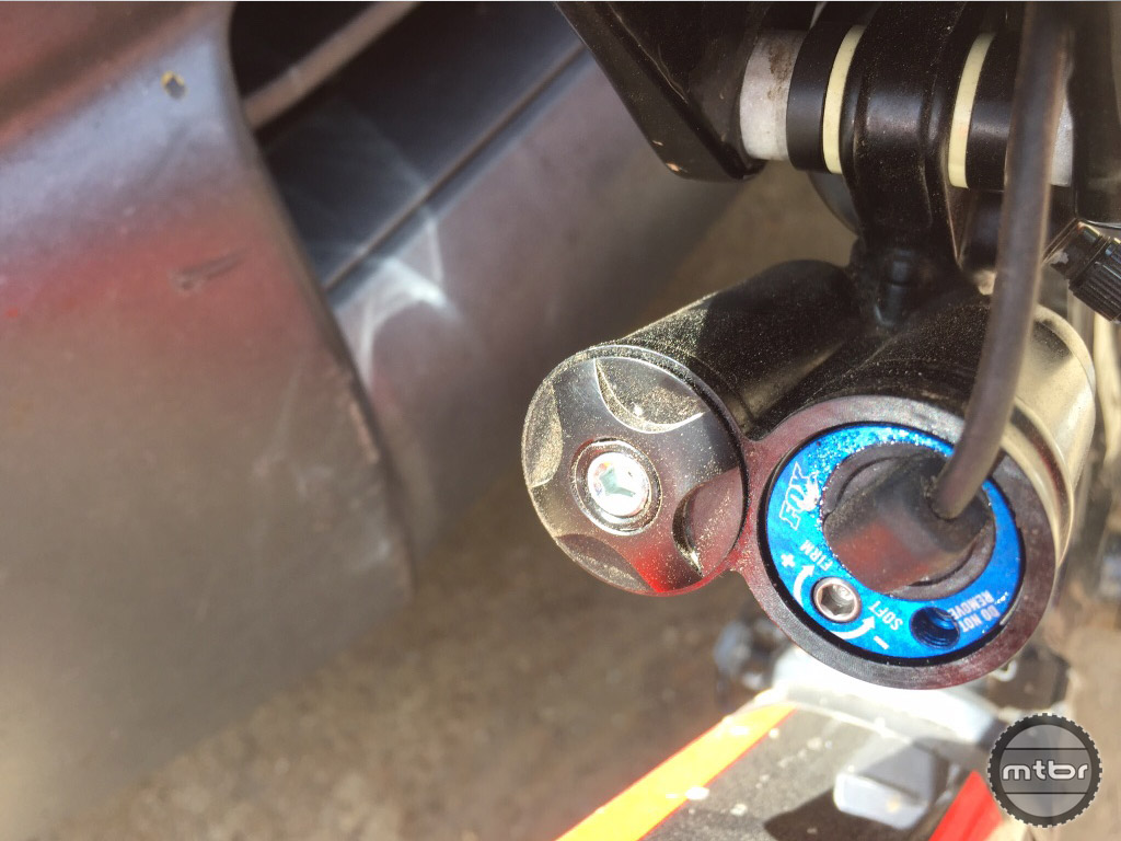 A close up of the shock adjustments.