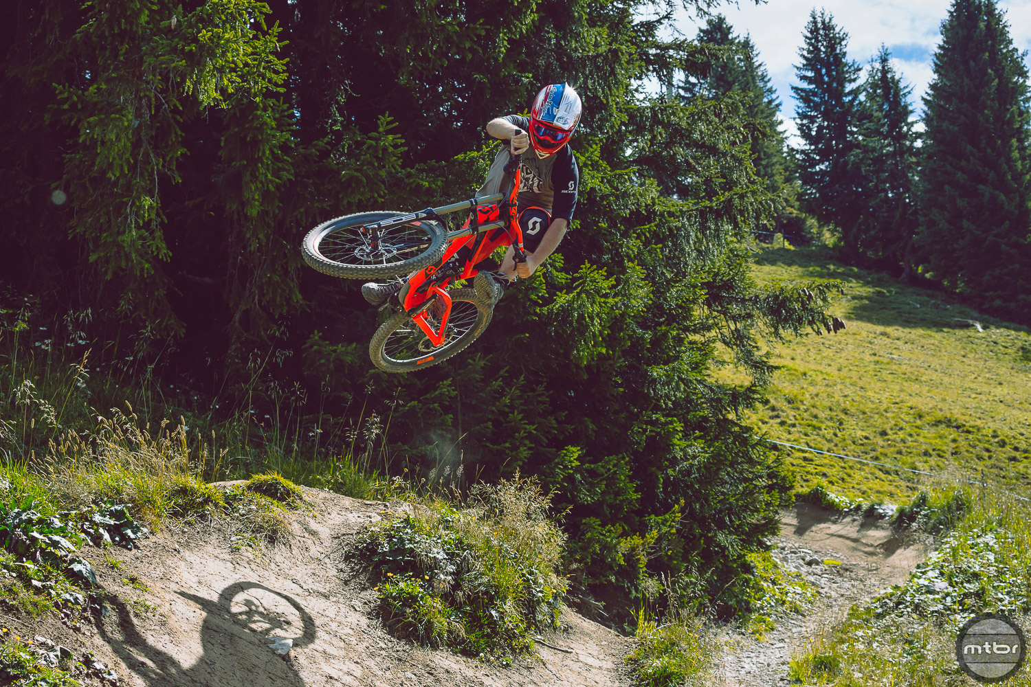 Launching off a hip at Champéry Bike Park. (photo courtesy of François Marclay)
