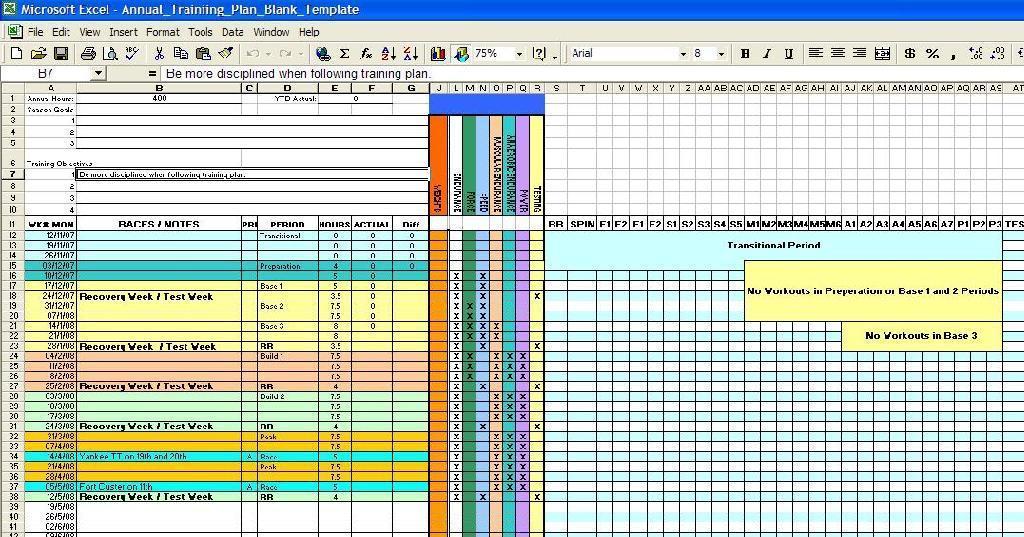 friel training spreadsheet requests