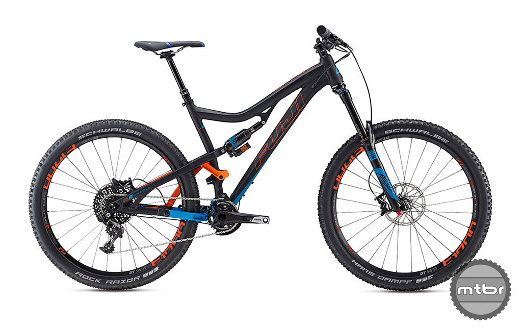 """The Fuji Auric has 160mm of travel and rolls on 27.5"""" wheels."""