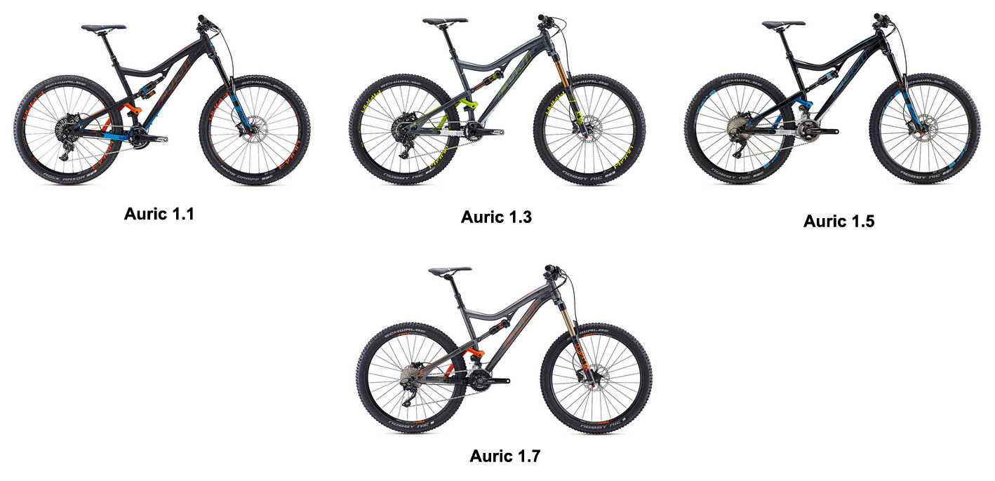 The Fuji Auric lineup: Auric 1.1, 1.3, 1.5 and 1.7.