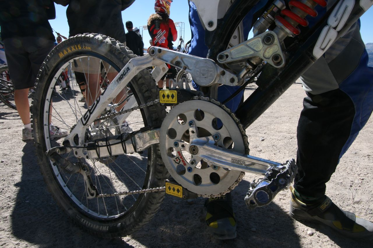 "Galeoto with his ""small"" 56-tooth chainring."