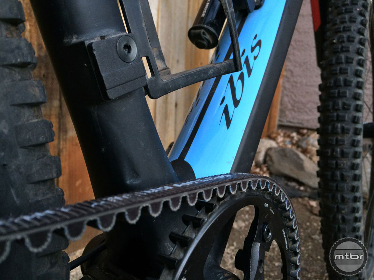 The Gates system made the feathery Ibis Tranny even lighter—it weighs in at about half that of a traditional chain and cog drive system.