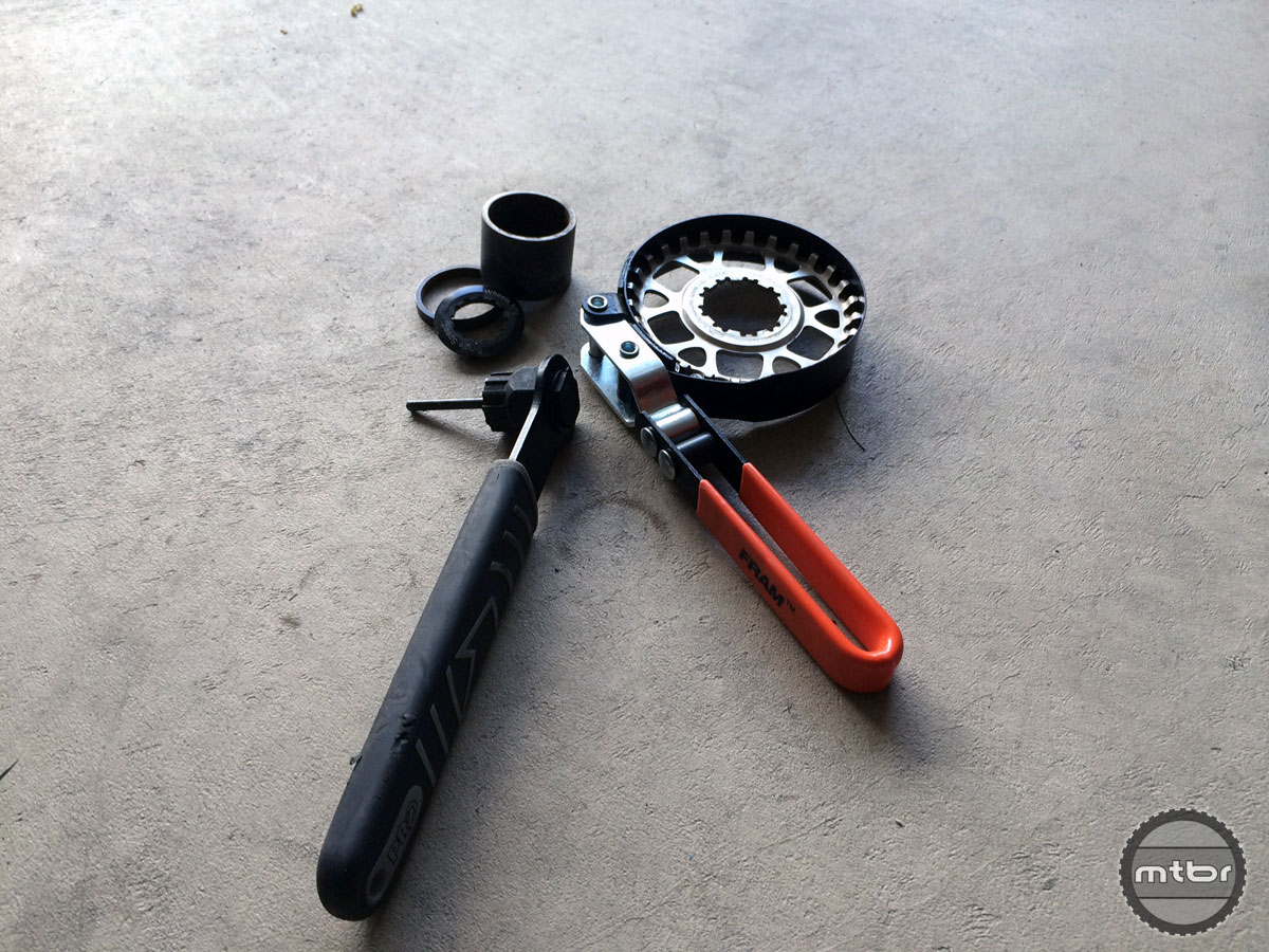 An automotive strap wrench makes a good chainwhip for Gates cogs.