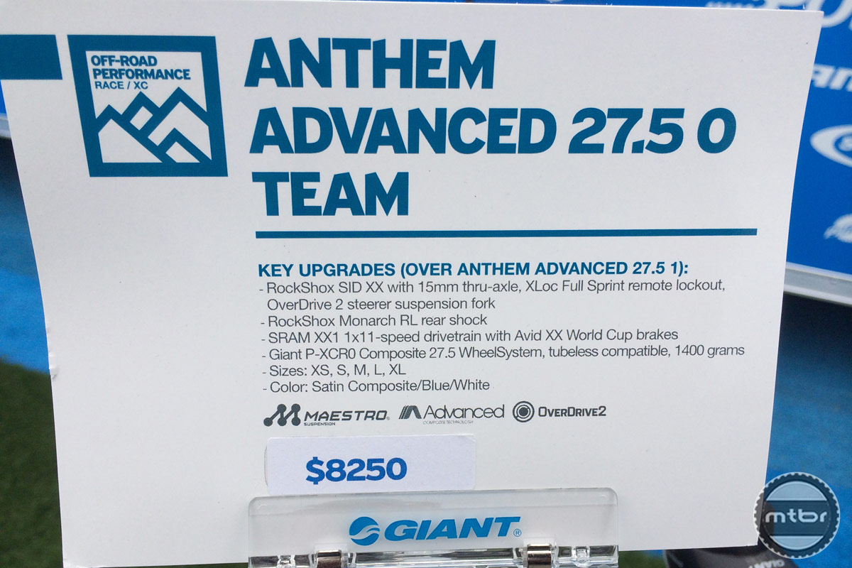 Giant Anthem Advanced 27.5 0 Team Info