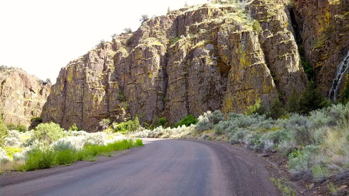 Girds Creek Road climbs through a tight canyon.