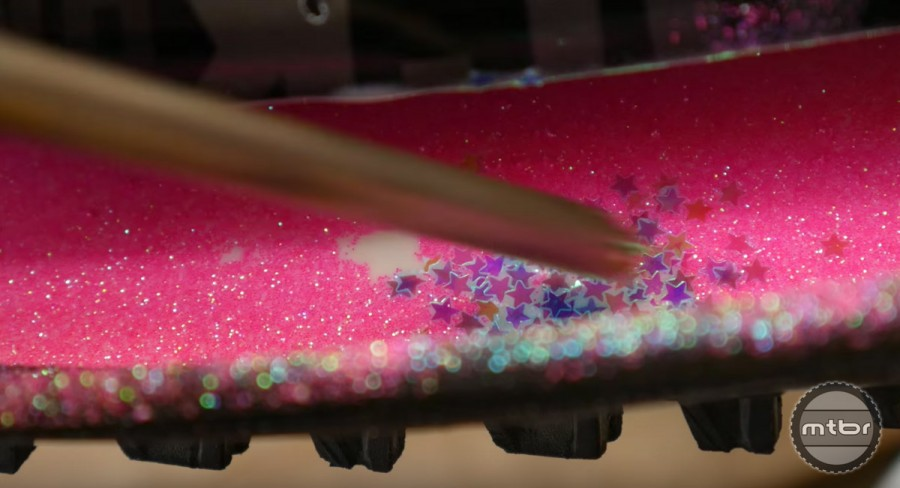 The one downside to mixing glitter in tire sealant is that it get's everywhere.