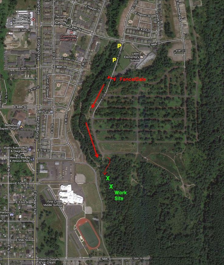 Swan Creek Park Tacoma -- Work Parties starting up-googlebasemapwithdirfromtstreet0410.jpg