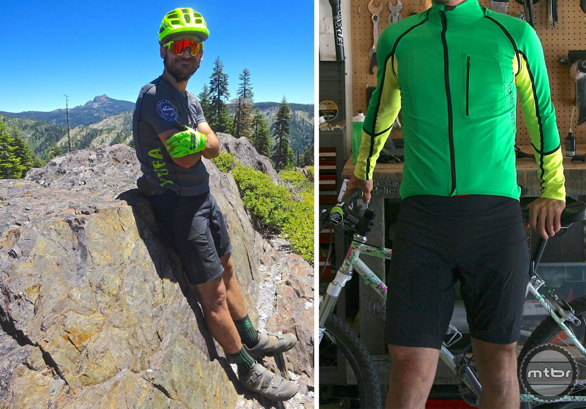 The Gore ALP-X PRO Outfit System (left) consists of a WINDSTOPPER jersey and 2in1 Shorts+. After two months of hard use, the ALP-X PRO 2in1 Shorts+ (right) have suffered no visible wear.