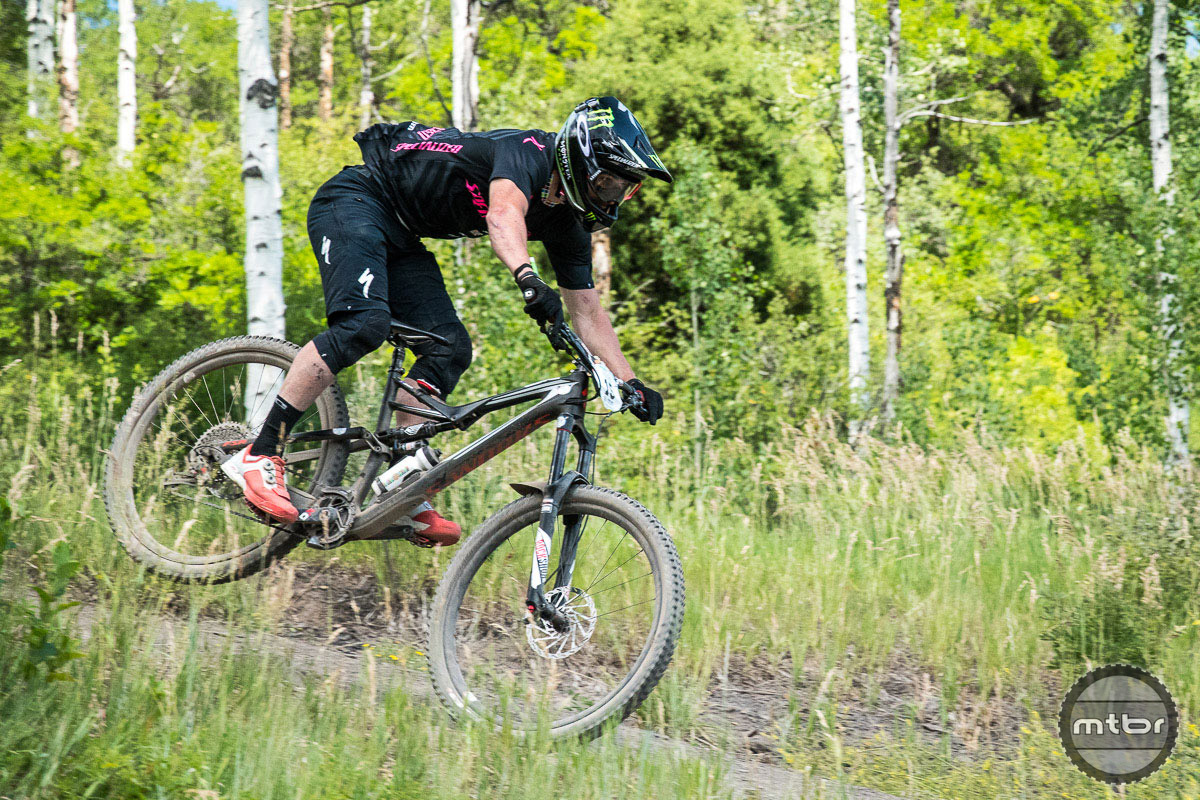 Graves says he choose the 29er for the Colorado race largely due to the many high speed sections. He'll switch back to a 27.5 Specialized Enduro for next weekend's more technical EWS race in Whistler. Photo by Eddie Clark