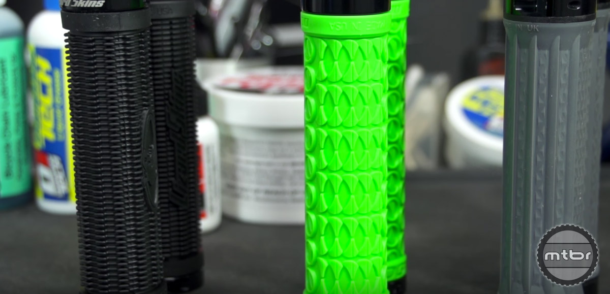 Lock-on grips have a hard plastic core with the rubber grip molded around it, and slide easily onto handlebars.
