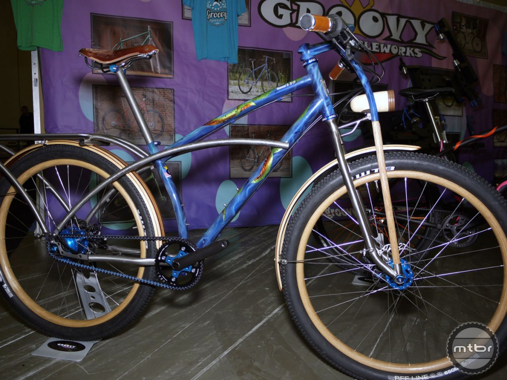"""Groovy Cycleworks won Best of Show last year with his """"Kauai"""" bike, designed with a surfboard carrier."""