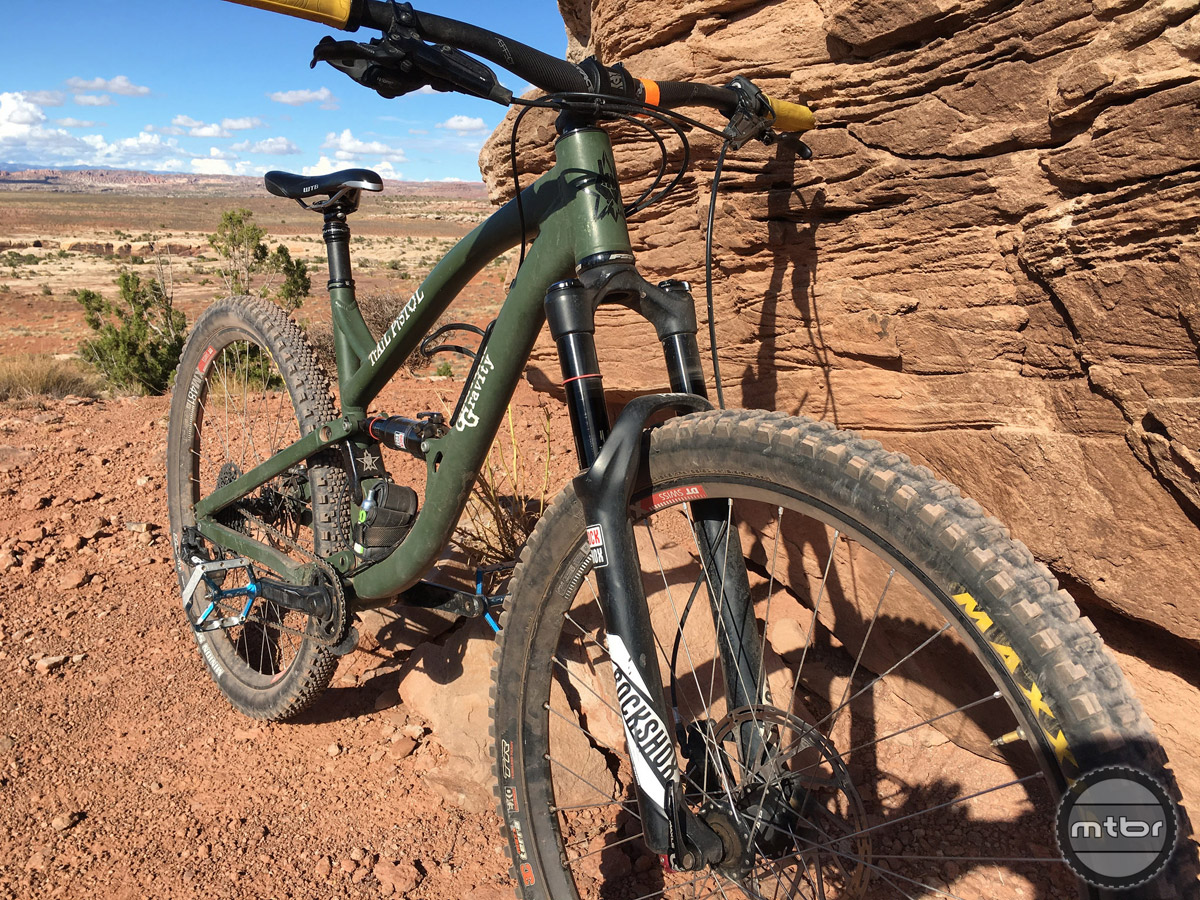 This dual-position RockShox Pike was sturdy and responded well, but I liked it better in the 140mm setting than the 120mm.