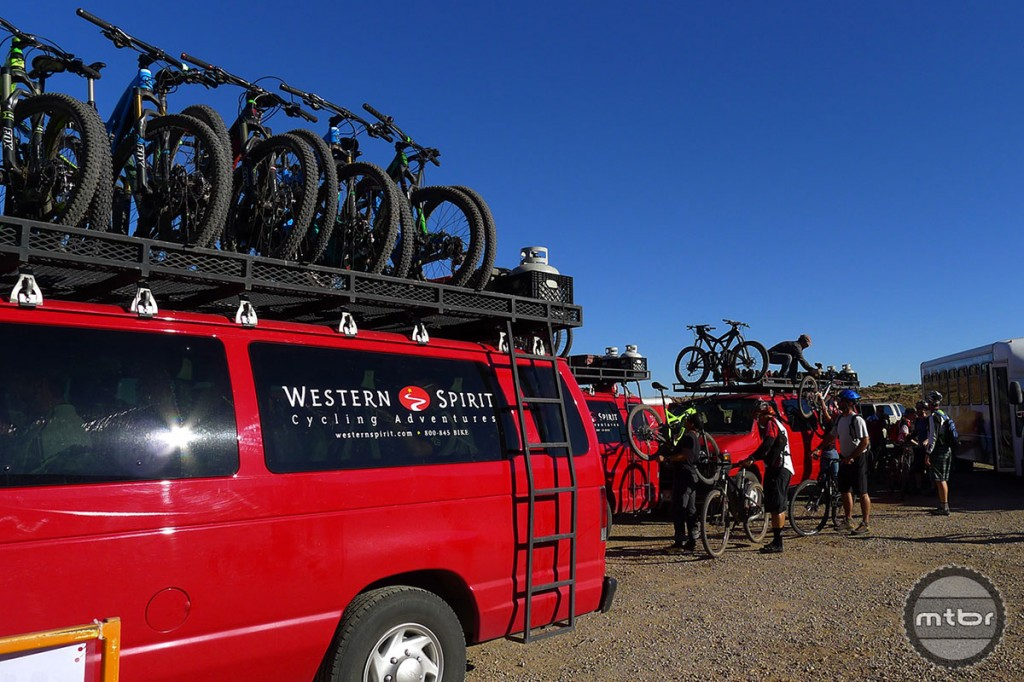 Western Spirit Cycling's 25 guides lead about 1200 clients on 100 mountain bike trips a year.
