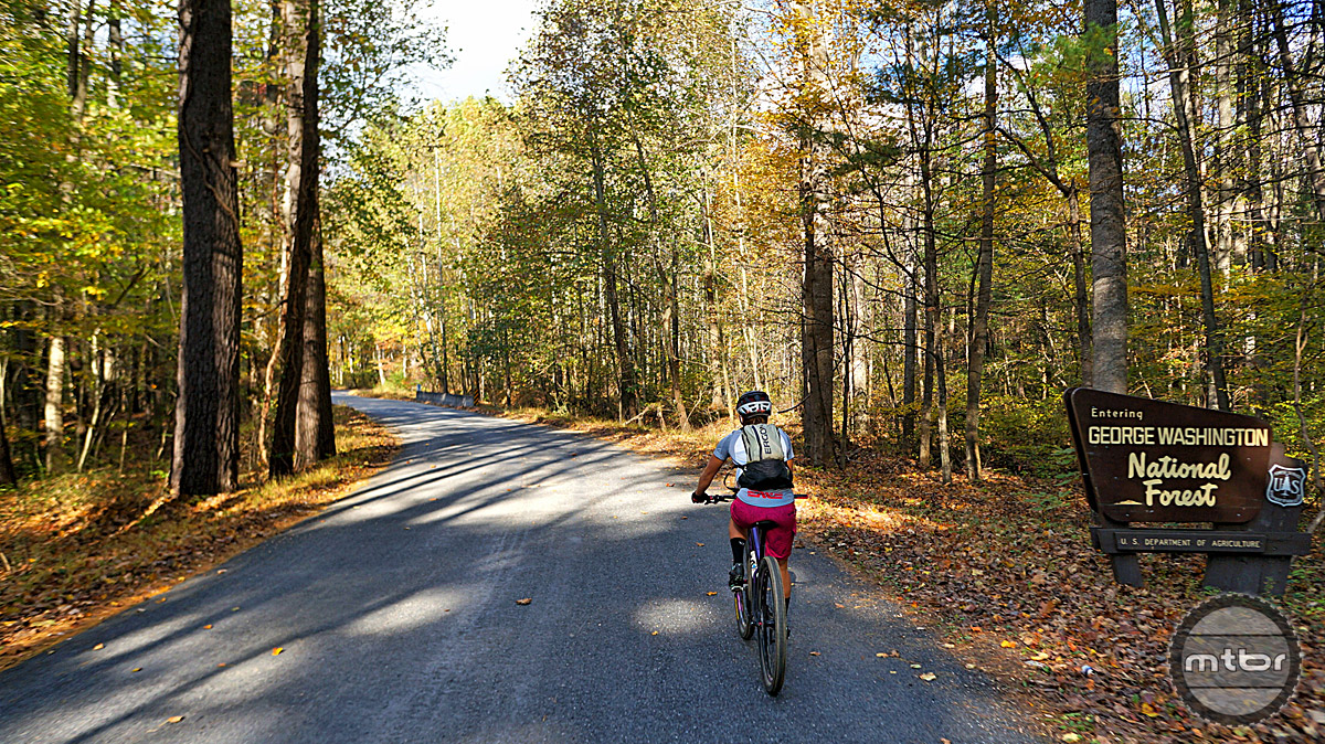 Access into the George Washington National Forest from the Stokesville lodge is simple and an array of trails is within pedaling distance.