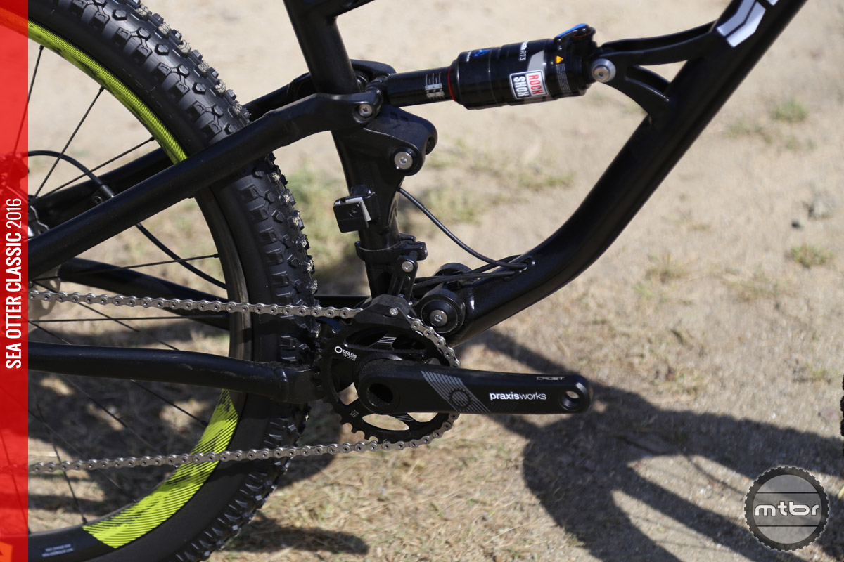 Close-up of the RockShox shock.