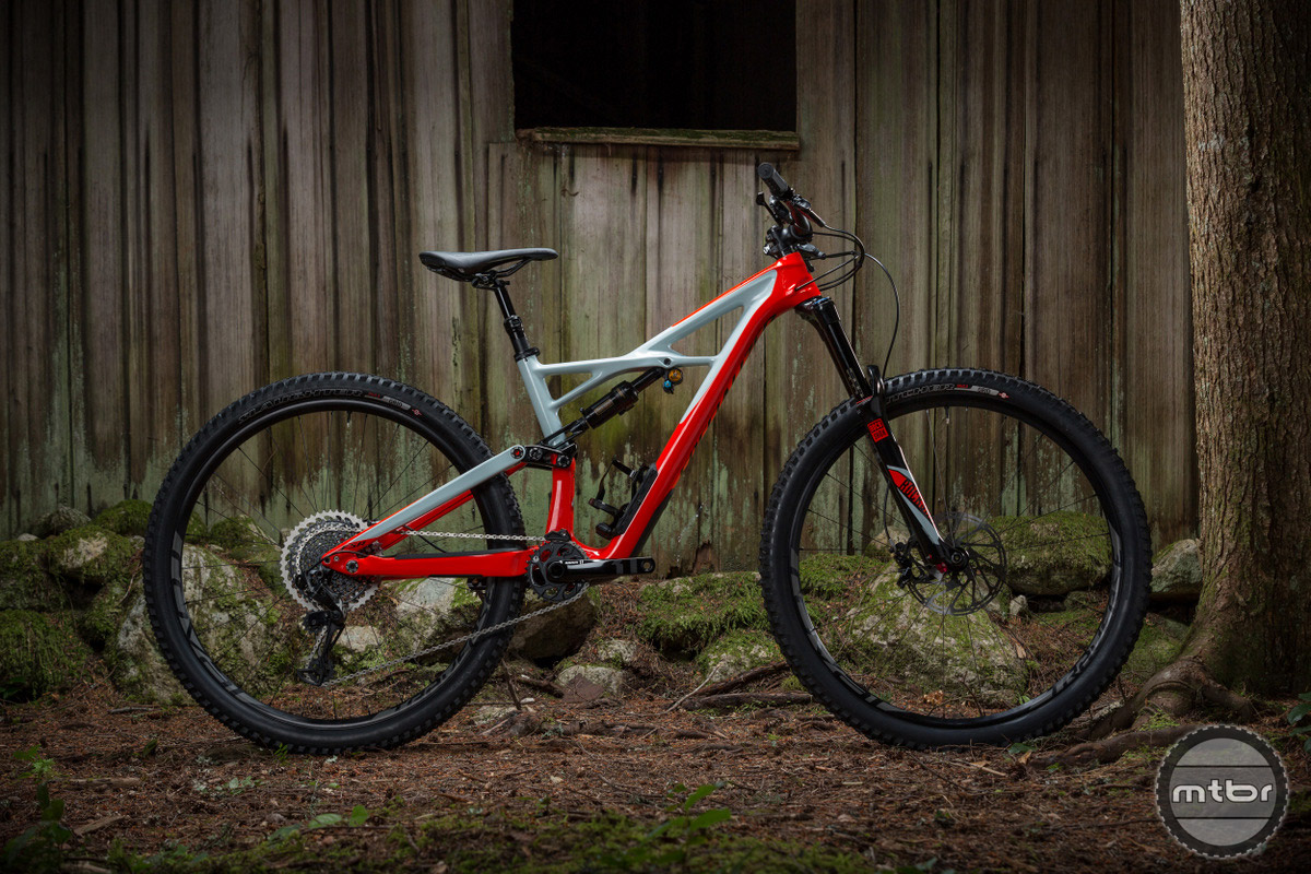 Specialized Enduro 29er in red and gray.