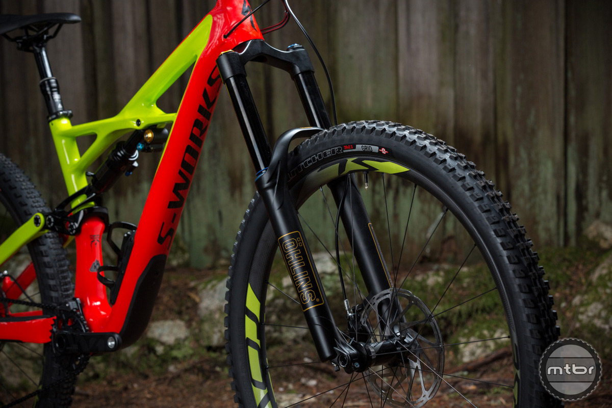 Specialized Enduro front end is slack with a 66 degree head angle in 29er mode