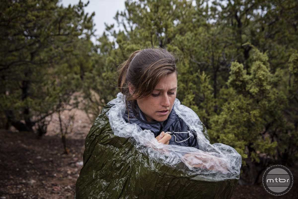 Her sleeping bag is a lightweight, glorified garbage bag (not really). Photo courtesy of R. Heffernan