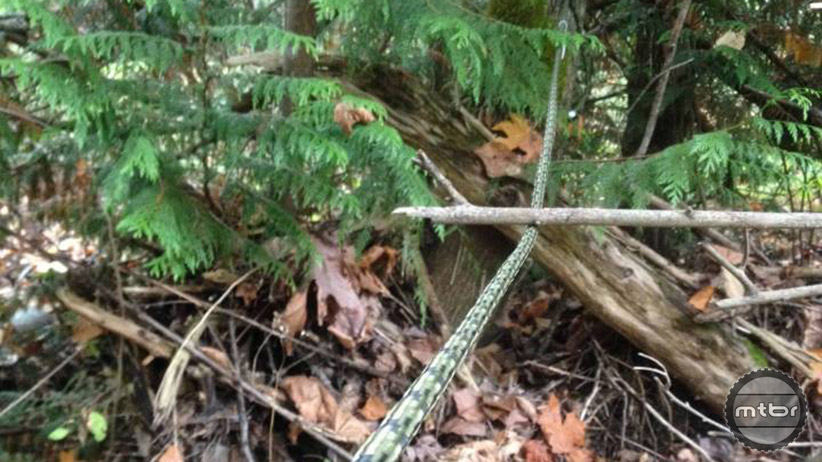 A hidden rope or obstacle is another form of trail sabotage sometimes used in other areas.
