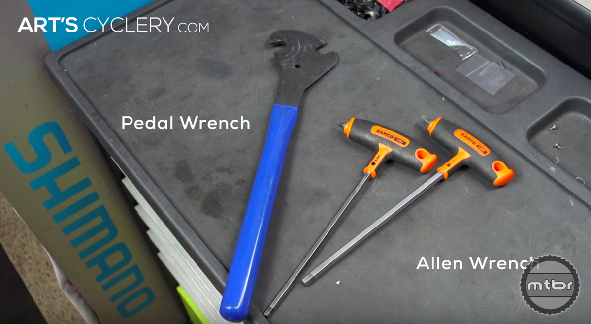Sooner or later you'll have to remove your pedals, and trying to do it without a pedal wrench will surely end in frustration and bloody knuckles. Just don't do it. Grab a pedal wrench. Some pedals can be removed with a 6mm or 8mm Allen wrench instead.