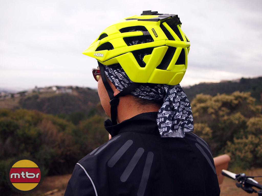 Hoo-Rag under helmet
