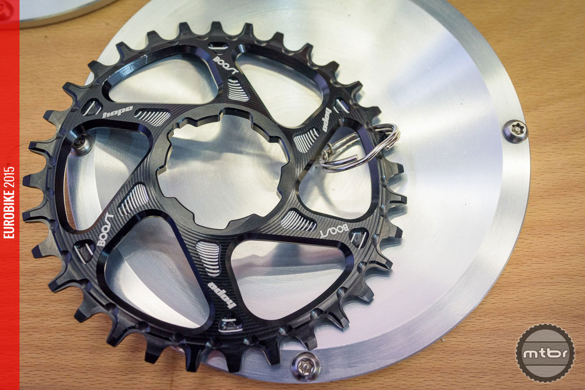 This spiderless chainring has been adapted to the more outboard placed chain line of a Boost drivetrain.