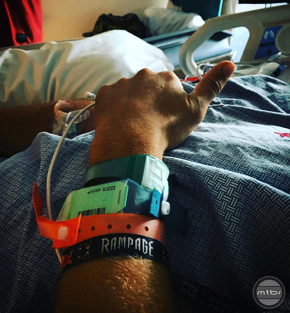 Paul Basagoitia gives a thumbs up from his hospital room. Let's all send healing vibes his way. Photo courtesy Cam Zink
