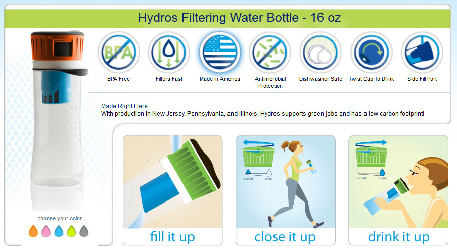 Hydros Filtering Water Bottle - features