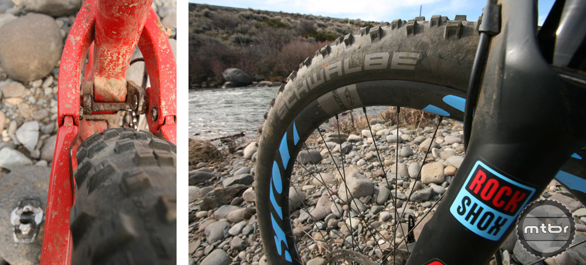 Designed around a Boost rear axle, the Mojo 3 offers ample clearance (left) for 2.8-inch wide tires. The Mojo 3 can be outfitted with Schwalbe Nobby Nic (right) 27.5x2.8-inch tires.