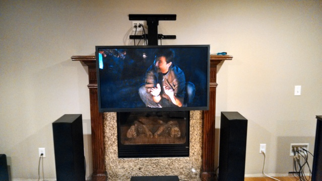 Above fireplace tv mount down and out mount - Pull down tv mount over fireplace ...