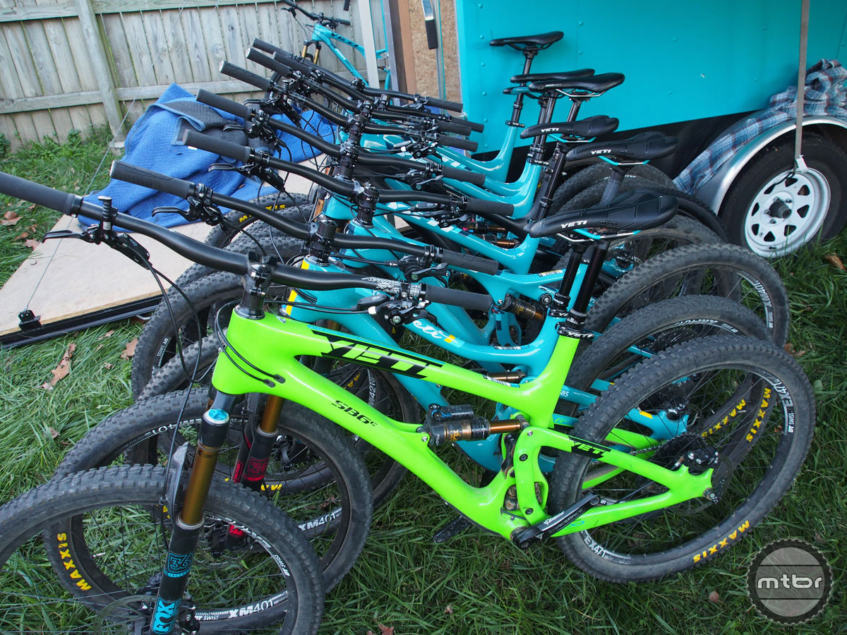 Attendees have a host of demo bike choices, including this fleet of Yetis.