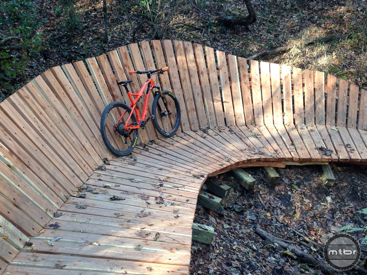 Some impressive woodwork and an Orbea Occam demo bike made for fun times on the trail.