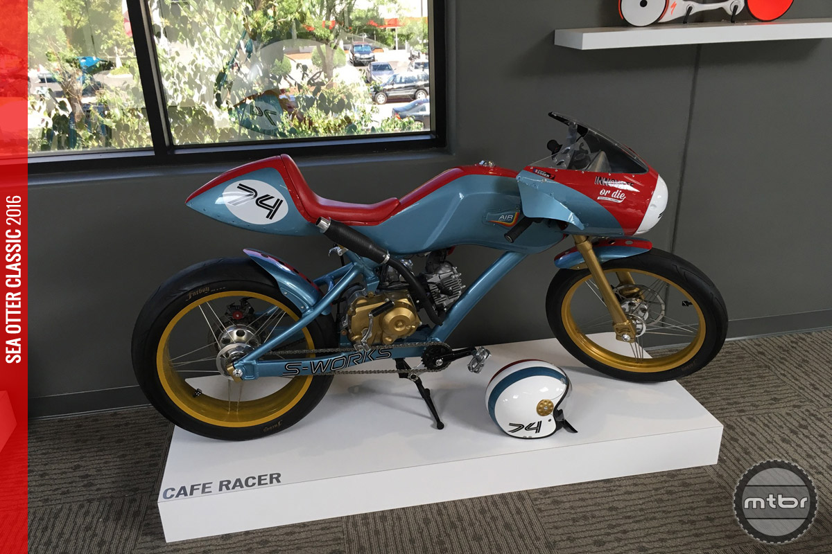 The cafe racer is another gas powered art bike designed and built by Robert that borrows heavily from the custom motorcycle scene.