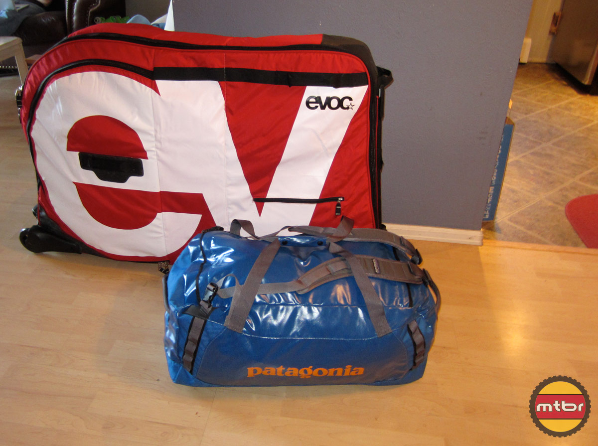 Evoc Bike Travel Bag and Patagonia Duffel