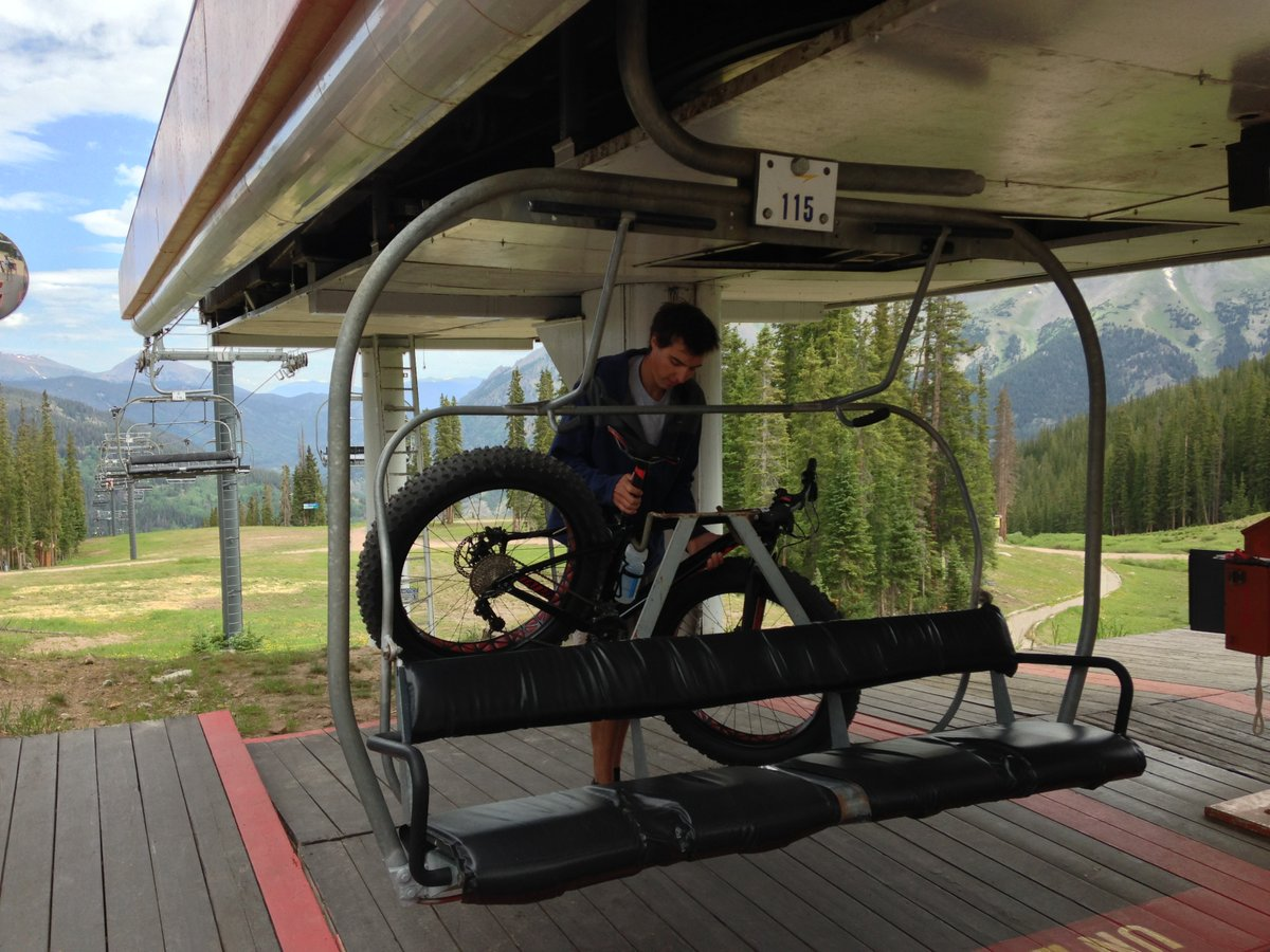 Specialized Fatboy Taking the ski lift up for a downhill run